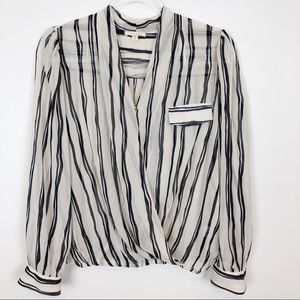 PLEIONE STRIPE LONG SLEEVE WRAP BLOUSE SZ M